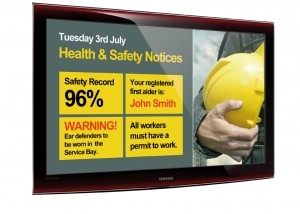 image of health and safety information screen